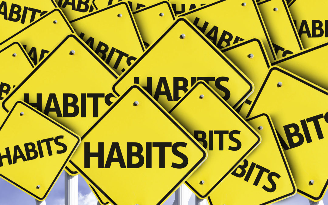 multiple road signs with text: habits