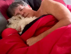 Caucasian male sleeping in red blankets with his white dog