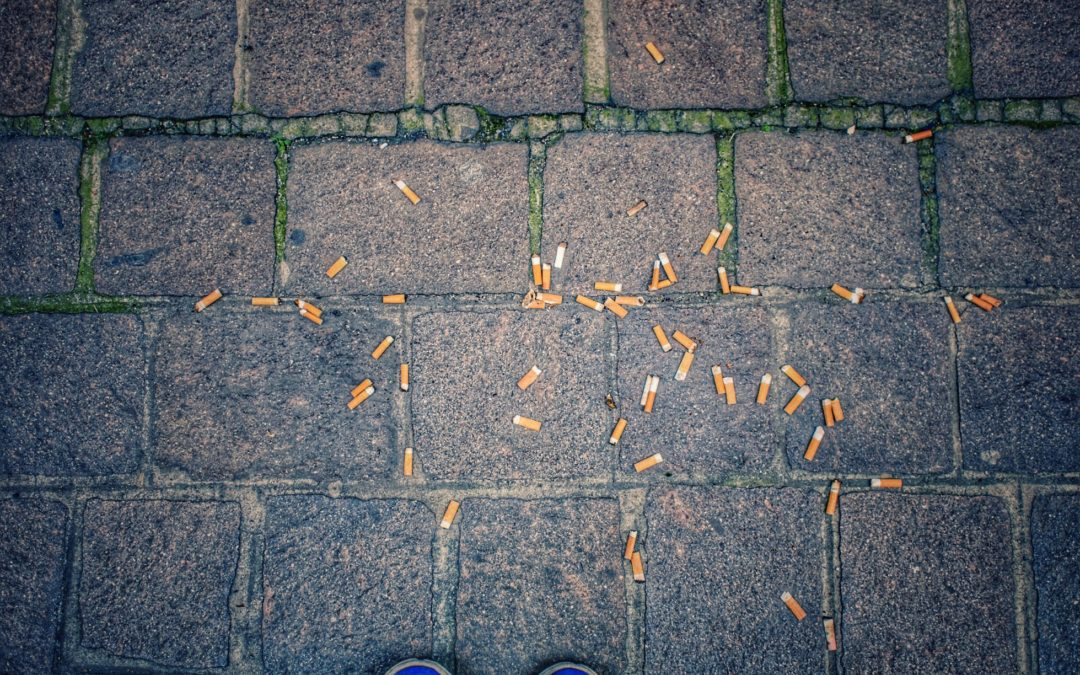 Cigarette butts on a stone street