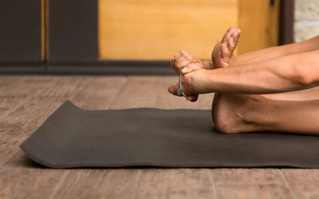 yoga mat and hands/feet stretching